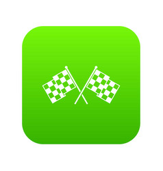 Checkered racing flags icon digital green vector