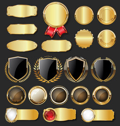 Collection golden badges labels laurels shield vector
