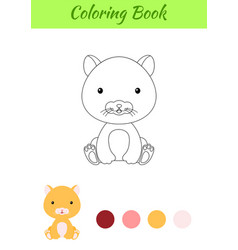 Coloring page little sitting bahamster vector