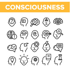 Consciousness collection elements icons set vector