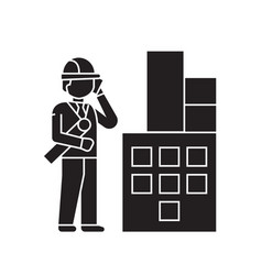 construction engineers company black vector image