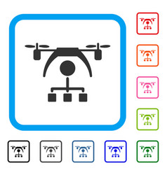 Copter distribution scheme framed icon vector