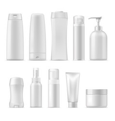 cosmetic plastic package mockups vector image