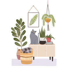 Cozy room interior with cat sitting on cupboard vector