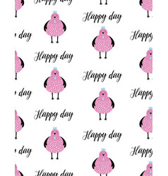 Cute seamless pattern with chicken vector