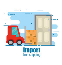 Delivery forklift with carton boxes vector