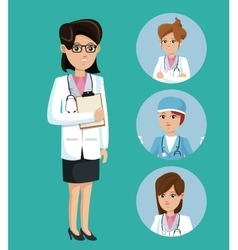 doctor woman medical clipboard stethoscope set vector image