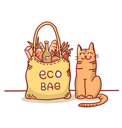 Eco bag color with eco bag and cute vector