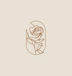 female hand holding flower rose logo or icon vector image