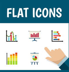 flat icon chart set of chart infographic easel vector image