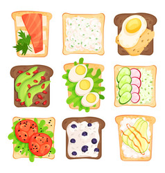 flat set of toasted bread slices with vector image