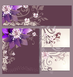 floral templates or invitation with flowers vector image