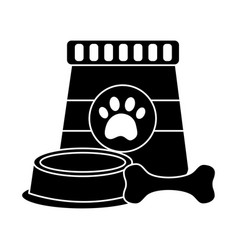 Food bowl and bone pet icon image vector