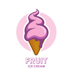fruit berry ice cream icon vector image