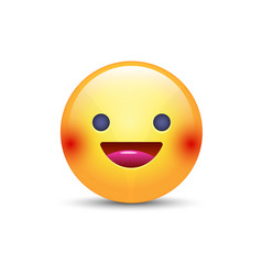 fun yellow cartoon emoji face with smile and open vector image