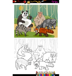 Funny animals cartoon coloring book vector