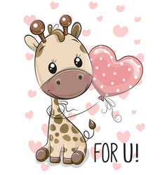 Giraffe with balloon on a hearts background vector