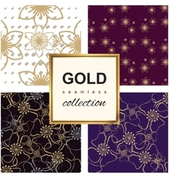 Golden Luxury flower pattern set vector image