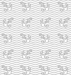 Gray anchors on wavy continues lines vector