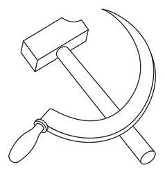 Hammer and sickle contour vector