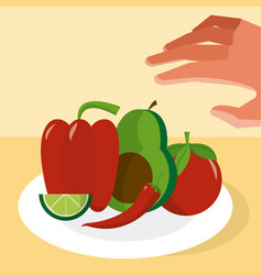 Hand grabbing mexican ingredients vector