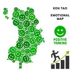 Happy koh tao thai island map collage of vector