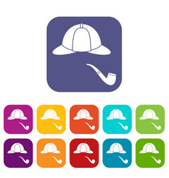hat and pipe icons set vector image