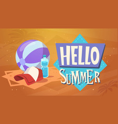 hello summer vacation sea travel retro banner vector image