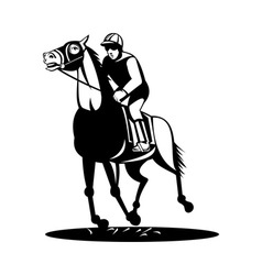 horse and jockey racing vector image
