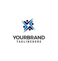 human sosial logo design concept template vector image