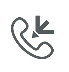 Incoming call icon with outline handset and arrow vector