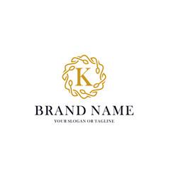 Initial letter k luxury ornament logo design vector