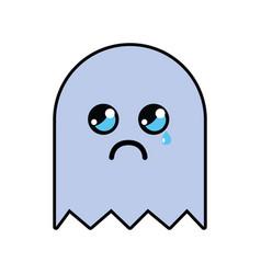 Kawaii cute crying videogame character vector