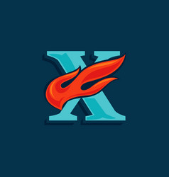 Letter x logo with fast speed fire vintage serif vector