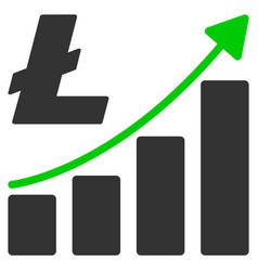 litecoin growth graph flat icon vector image