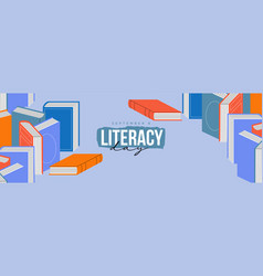 Literacy day web banner colorful books cartoon vector
