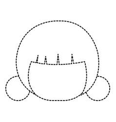 Little japanese doll head kawaii character vector