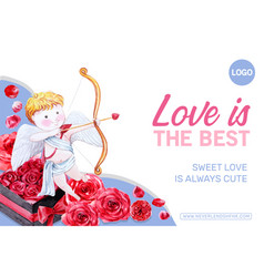 Love frame design with cupid rose watercolor vector