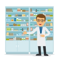Male pharmacist on medicine background vector