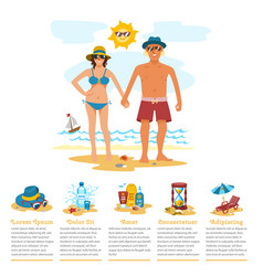 man and woman sunbathing infographics couple vector image