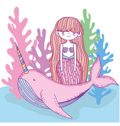 mermaid woman with whale unicorn and seaweed vector image