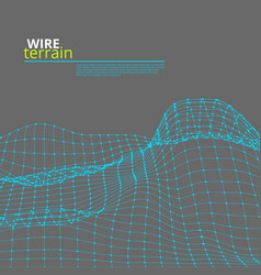 Mesh wire polygonal terrain surface on gray vector