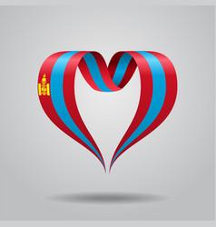 Mongolian flag heart-shaped ribbon vector