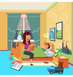 Mother read book to child vector