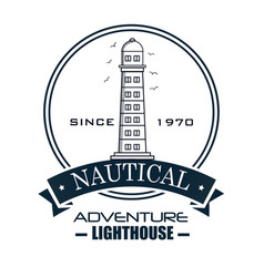 Nautical frame with lighthouse vector