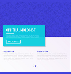 Ophthalmologist concept with thin line icons vector