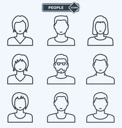 People icons linear flat style vector