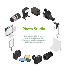 photo studio equipment banner card circle vector image