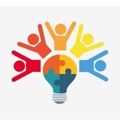 pictogram puzzle bulb teamwork support design vector image