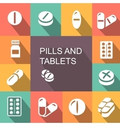 Pills and Tablets colored icons flat style vector